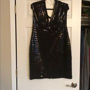Black sequined deep v neck dress NEVER WORN